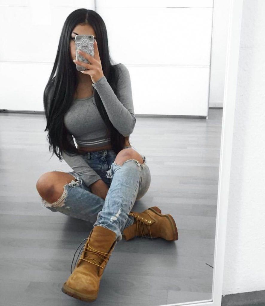 love this outfit with the timberland boots. I can pull the