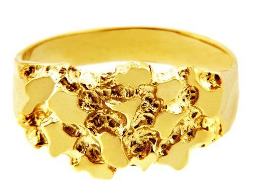 Men S Gold Nugget Rings The Knight Solid Gold Nugget Ring 10k 199 97 Gold Nugget Ring Mens Jewelry Gold