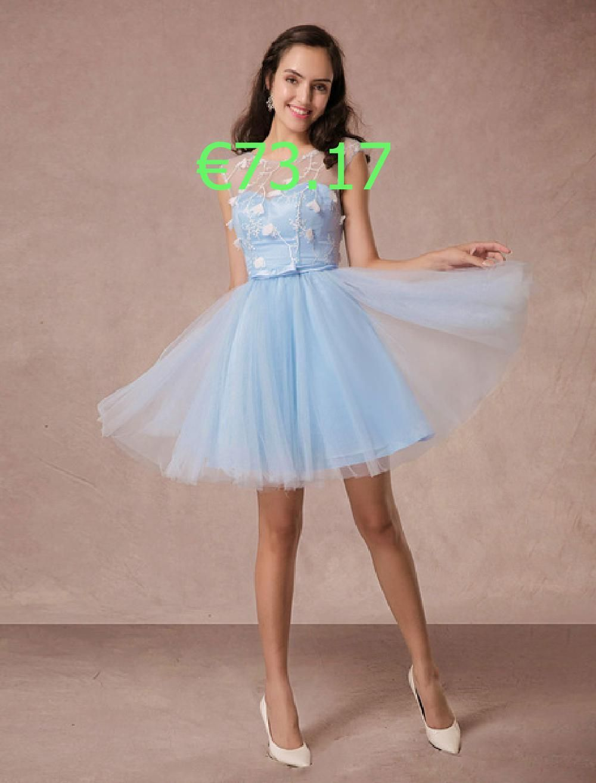 Kurze Prom Kleid Blue Lace Homecoming Kleid rückenfrei ...