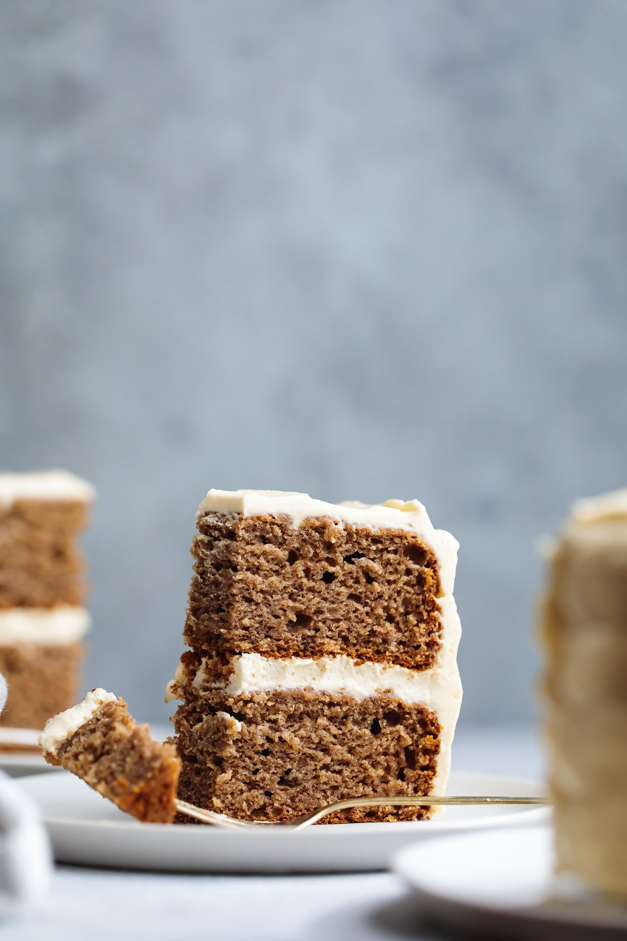 Baby Smash Cake: Banana Date Cake with Maple Cream Cheese Frosting.
