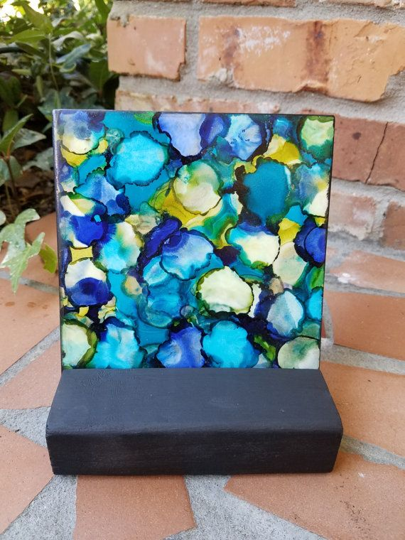 Alcohol Ink Painting Tile Abstract Blues Greens Yellows