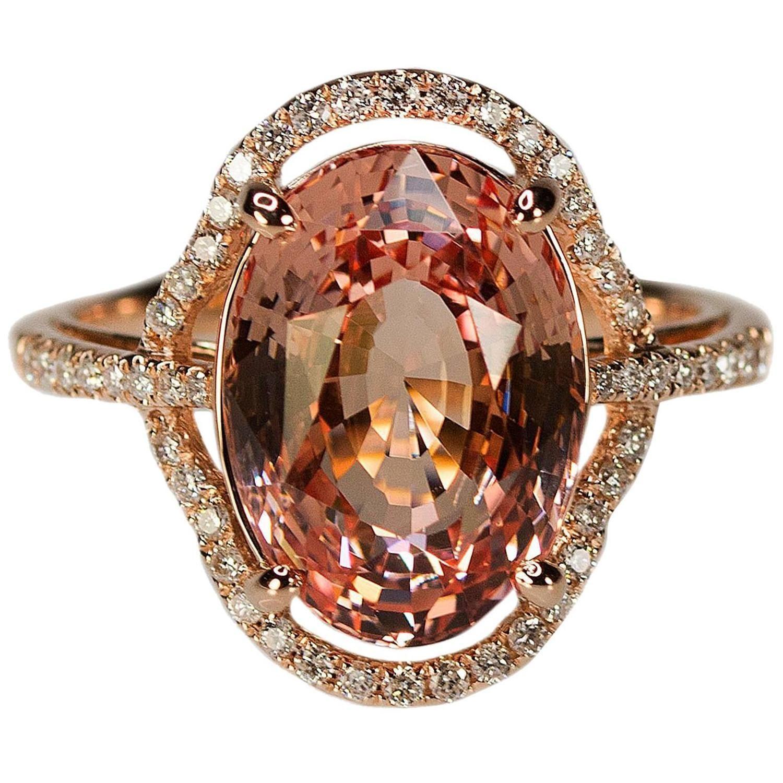 No Heat Ceylon Padparadscha Sapphire Pink Gold Ring