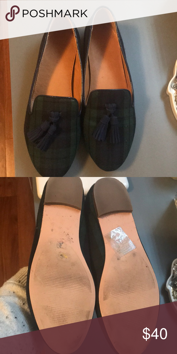 0aa4ced79ea Jcrew factory plaid loafers Adorable and worn once jcrew factory black  watch plaid loafers J.