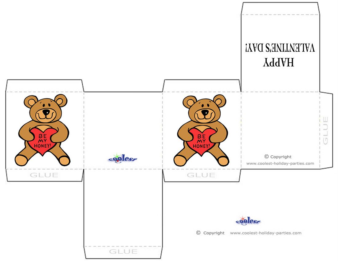 Printable Teddy Bear Valentines Chocolate Box