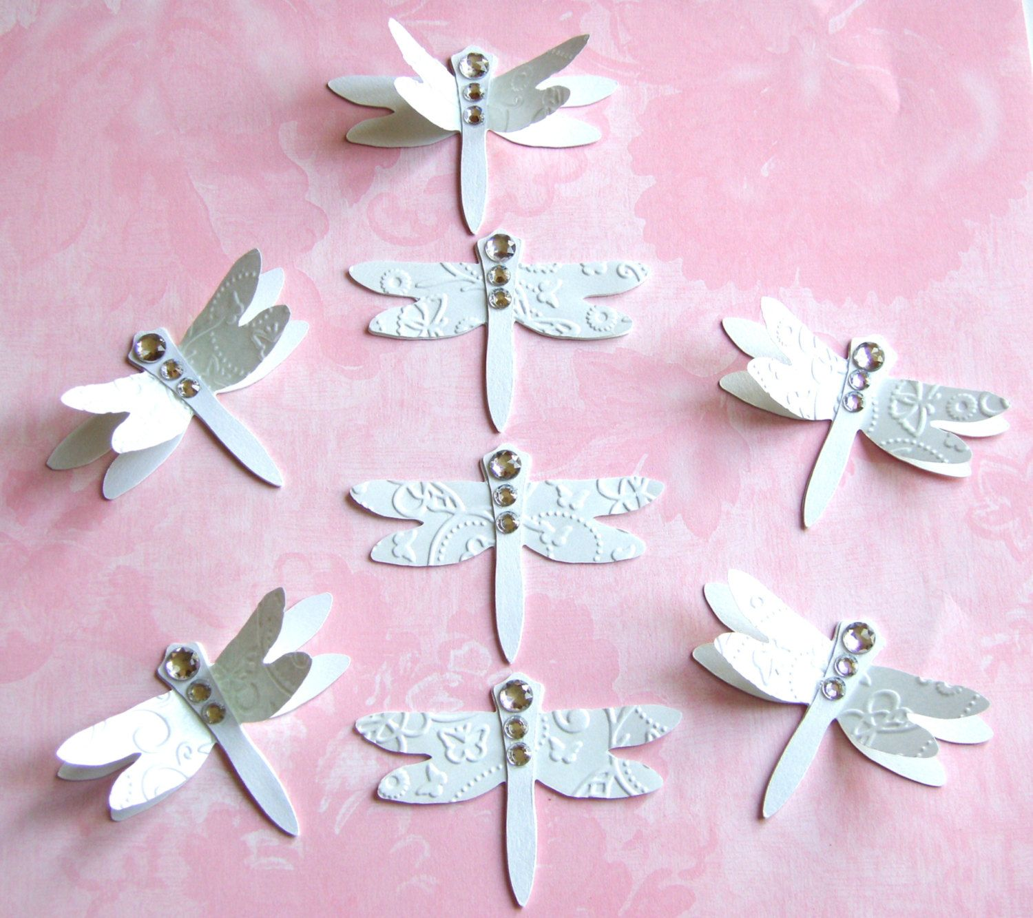 8 Die Cut Dragonfly Card Toppers Ready Made embellishments for Cards ...