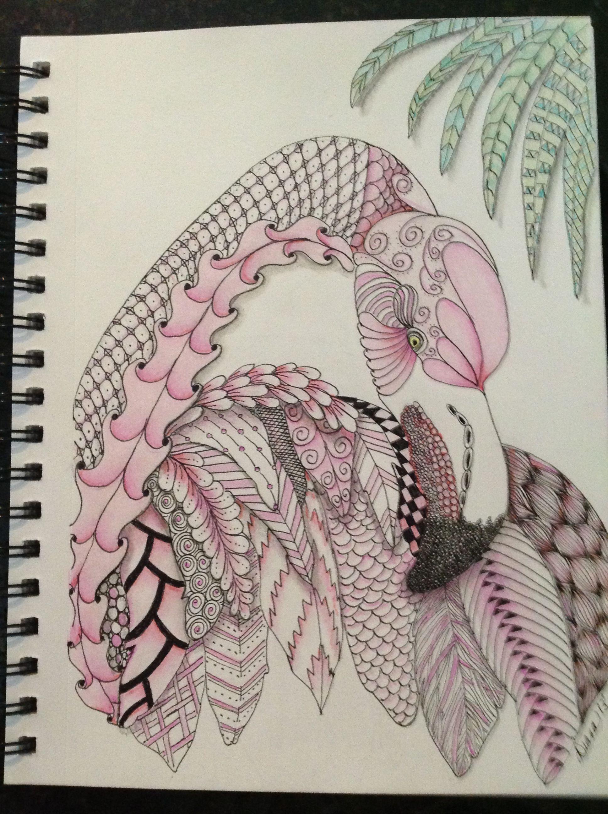 Zentangle® Flamingo by Diana Turner