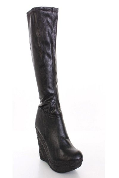 3c53272fffa7 Black Faux Leather Knee High Dollhouse Wedge Boots   Amiclubwear Boots  Catalog women s winter boots
