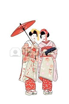 Kimono Japonais Deux Filles Geisha Japon Dessins Pinterest