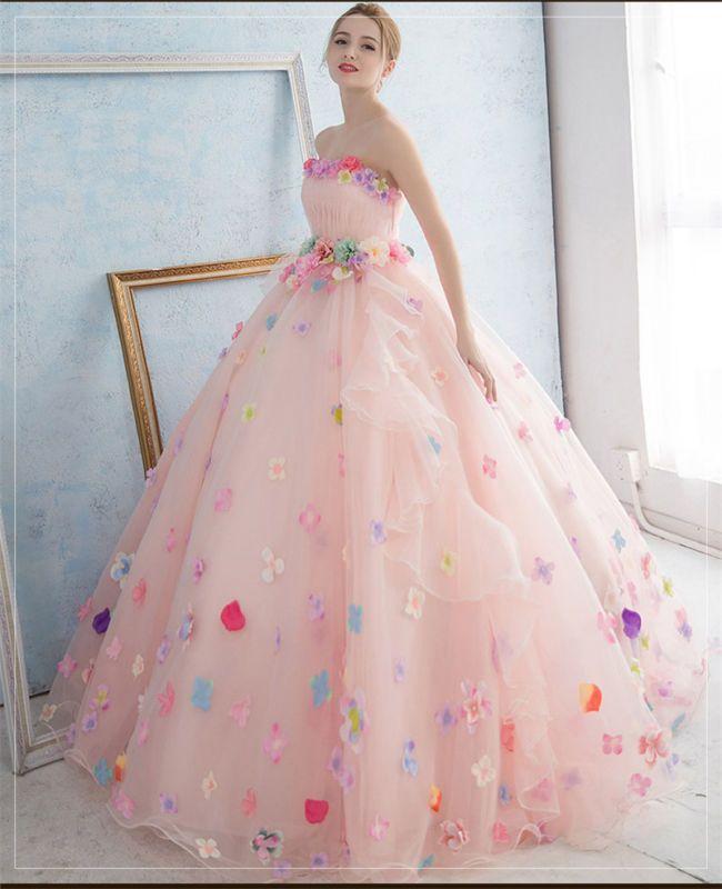 fd42d16440b3 Pink/White Korean Style Pregnant Wedding Dress Colorful Flowers Bridal Gown  Tutu