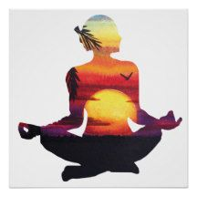 Tropical Paradise Beach Yoga Pose Meditation Poster