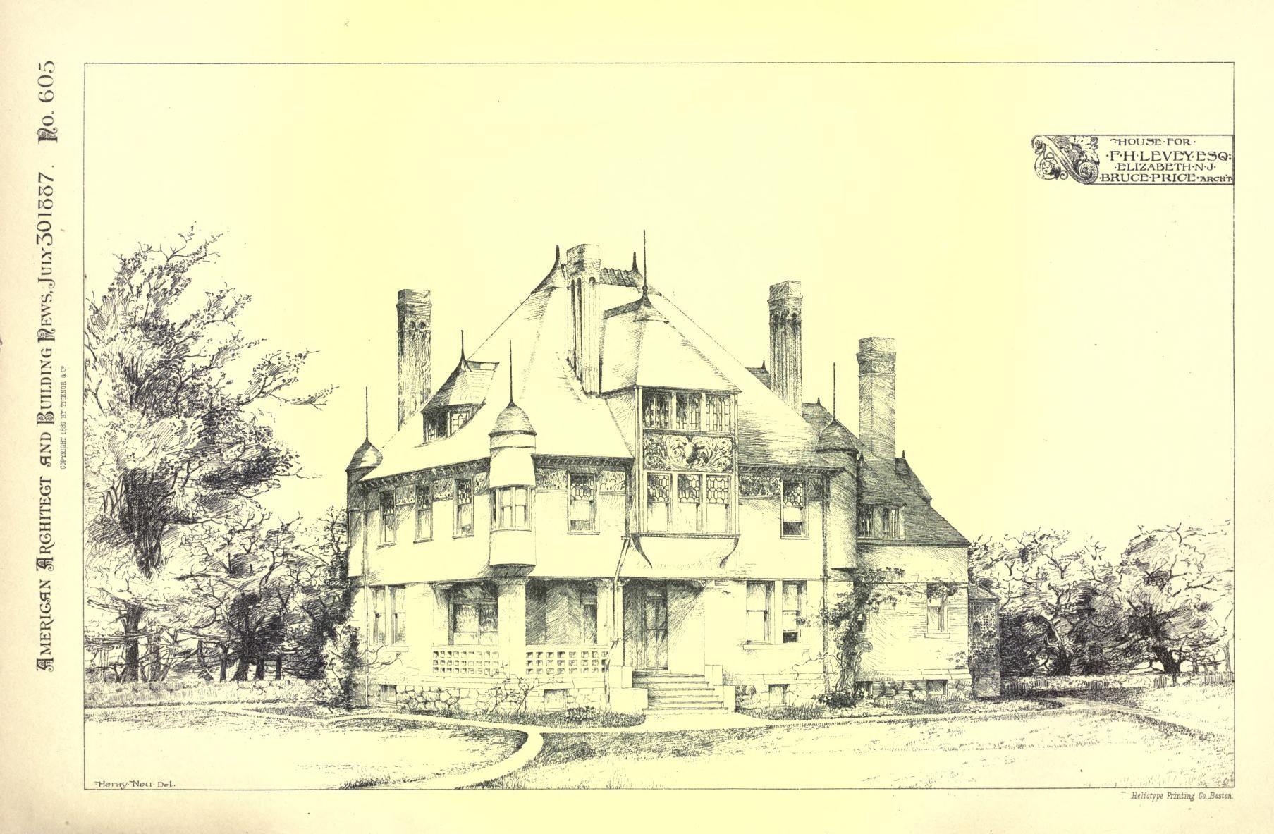 NJ Elizabeth Levey Res Bruce Price House painting, House