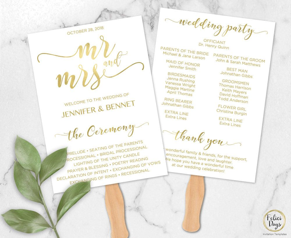 Mr & Mrs Wedding Fan Program Gold Editable Template, DIY Wedding Fan ...