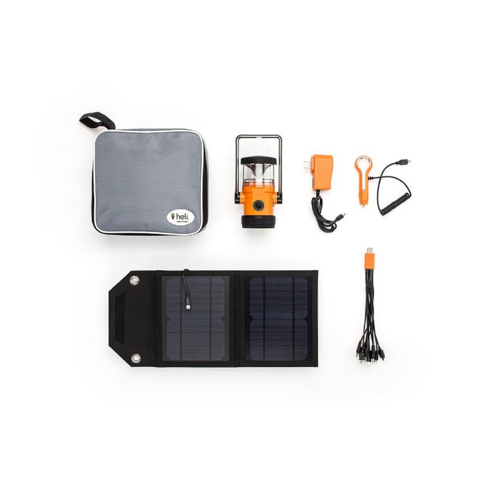 Ecommerce Trade Heli 2200 Kit Ac Wall Adapter 10 In 1 Dc Car Charger Carrying Case 7 Watt Solar Panel Led Rechargeable Lantern In Orange Products Rechargeable Lantern Solar Panels Charger