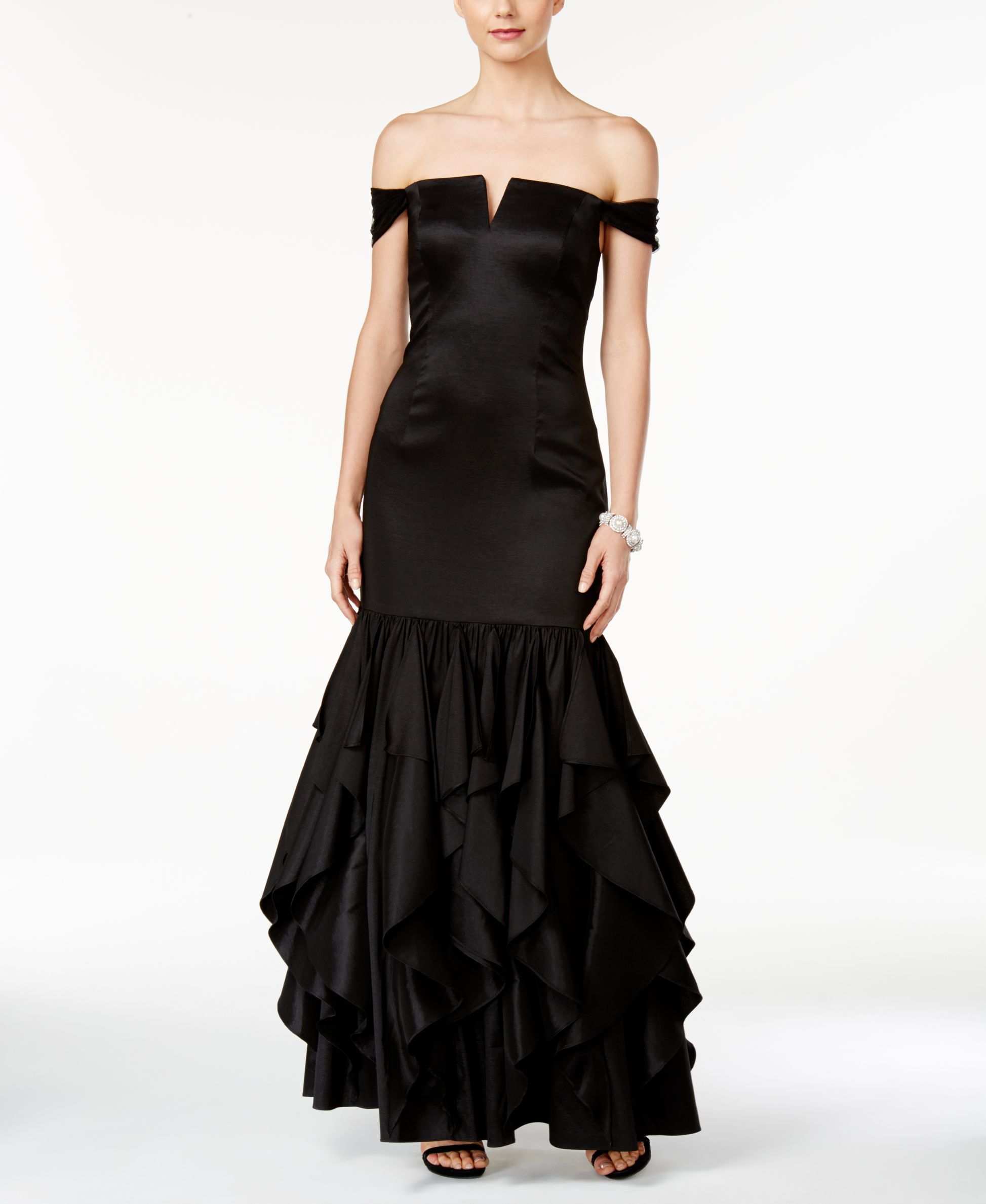 Adrianna Papell Off-The-Shoulder Ruffled Mermaid Gown