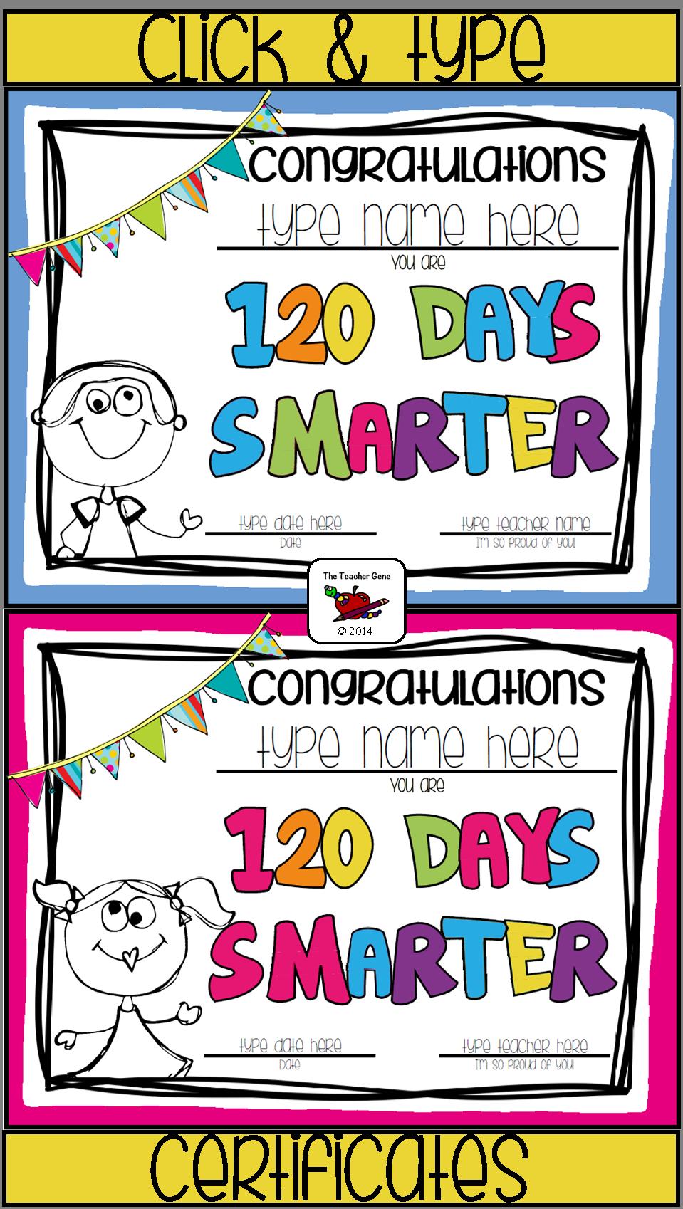 Fun Way To Celebrate 120 Days At School School Certificates 100 Days Of School 100th Day
