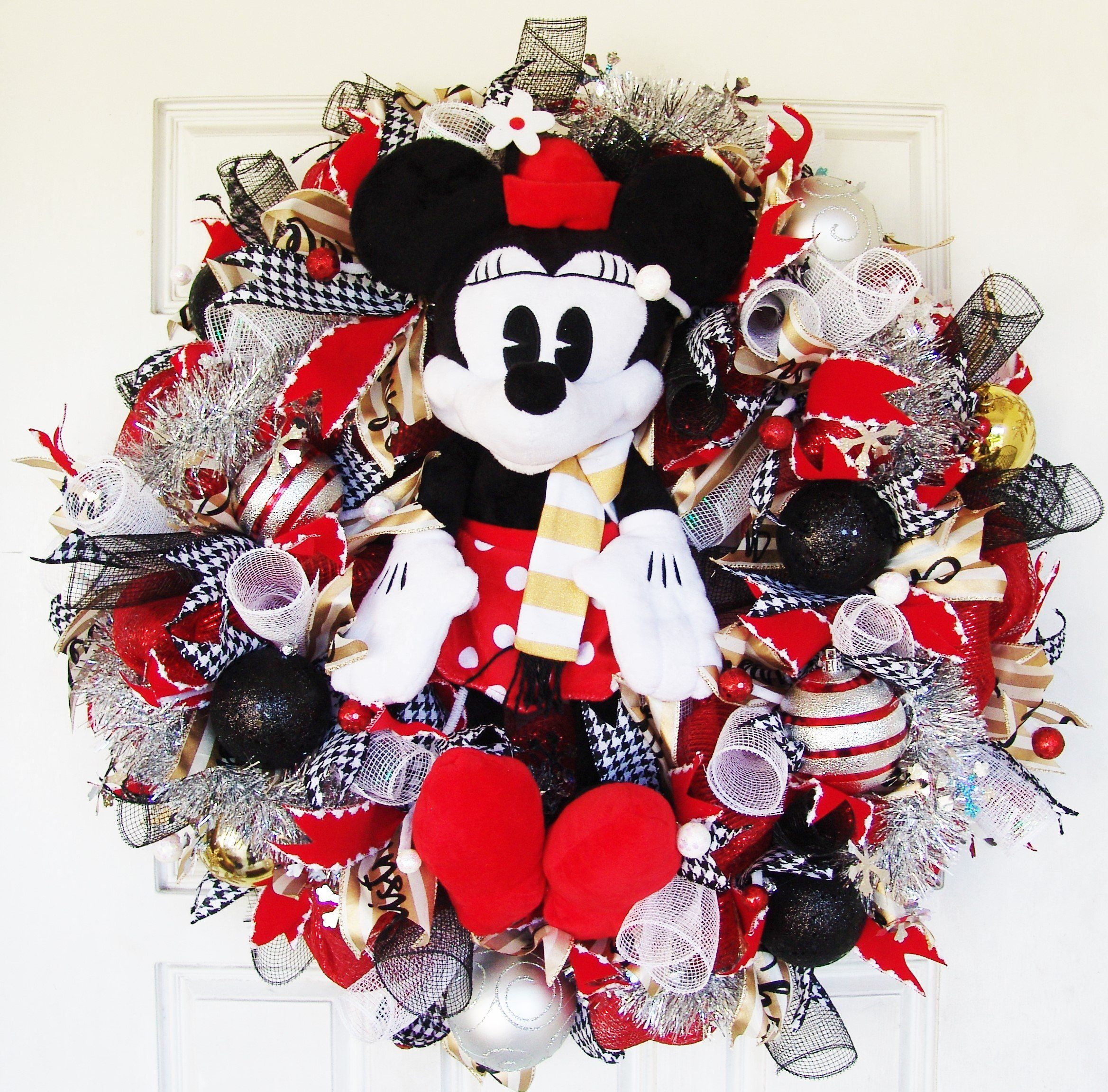 "XL Deluxe 28"" Vintage Minnie Mouse Disney Plush Christmas Deco Mesh"