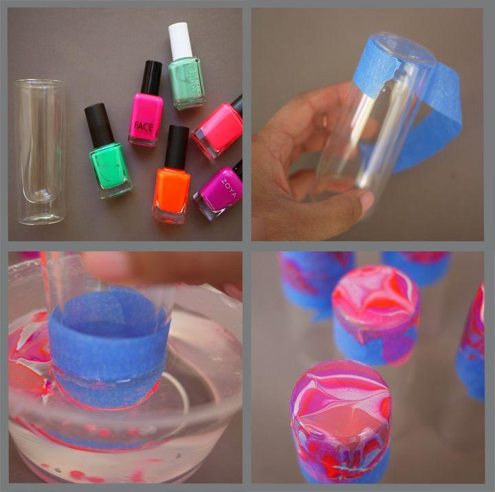 Diy marbled shot glasses so cool ideas pinterest for Vasos chupito personalizados
