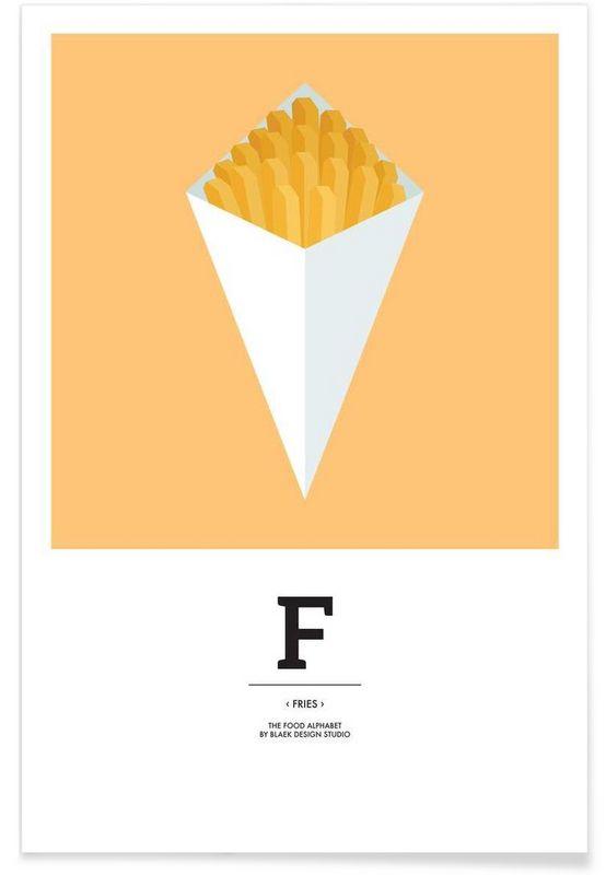 the food alphabet f like fries als premium poster von blaek design studio juniqe
