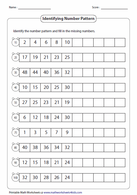 Standard Number Pattern Number Patterns Worksheets Math