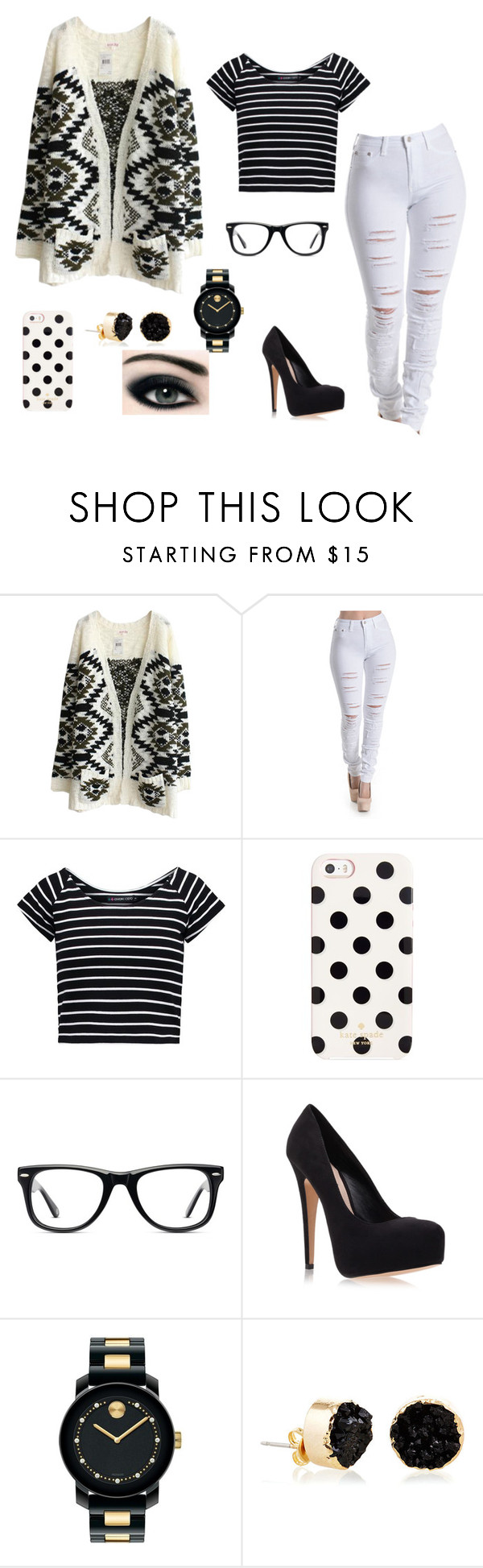 """""""black and white patterns"""" by pianims ❤ liked on Polyvore featuring even&odd, Kate Spade, Muse, Carvela Kurt Geiger, Movado and Janna Conner"""