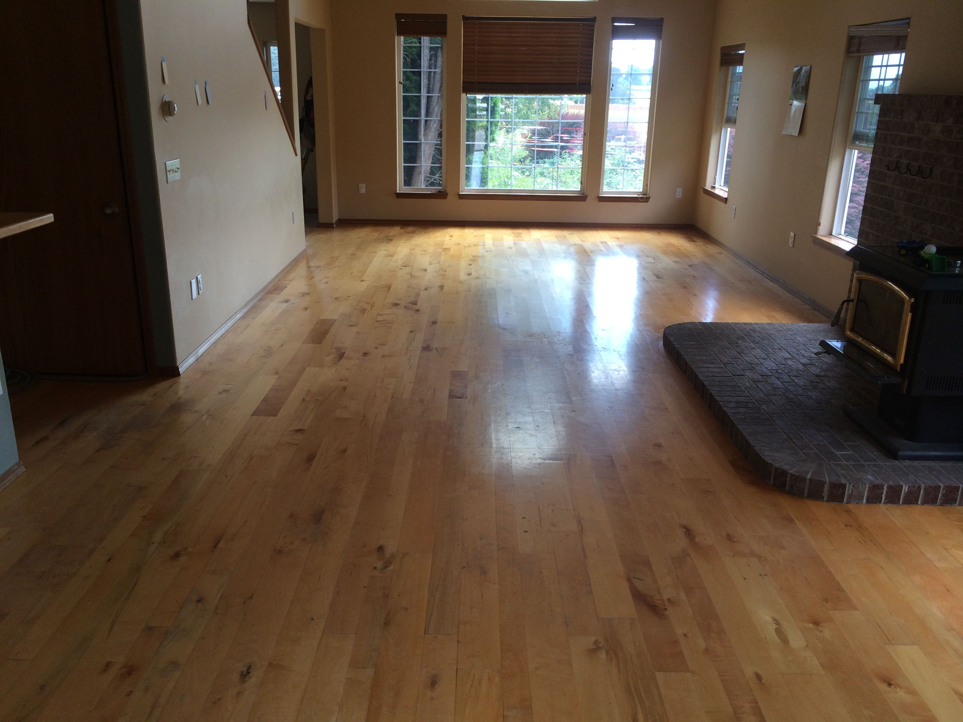 Refinish done in portland oregon floor is made from maple hardwood mix widths