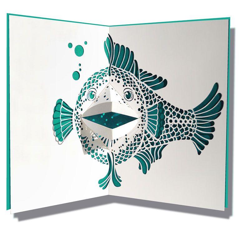 Pop Up card fish 3D Kunst Pinterest