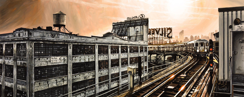 """""""NEW YORK 54"""" By Socrates Rizquez 2018 - 120x48 cm. Enamels on melamine painting. Pintado con esmaltes sobre melamina."""