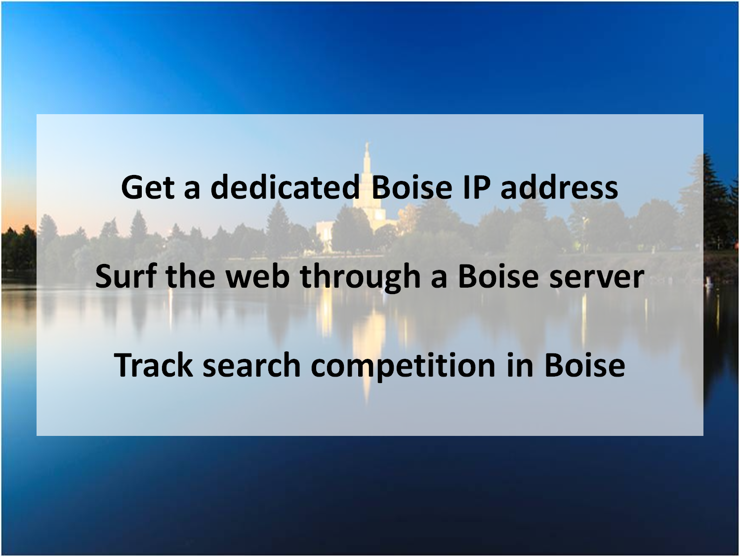 Get A Dedicated Boise Ip Address Surf The Web Through A Boise Server And Track Search Competition In Boise Proxy Server Competition Idaho