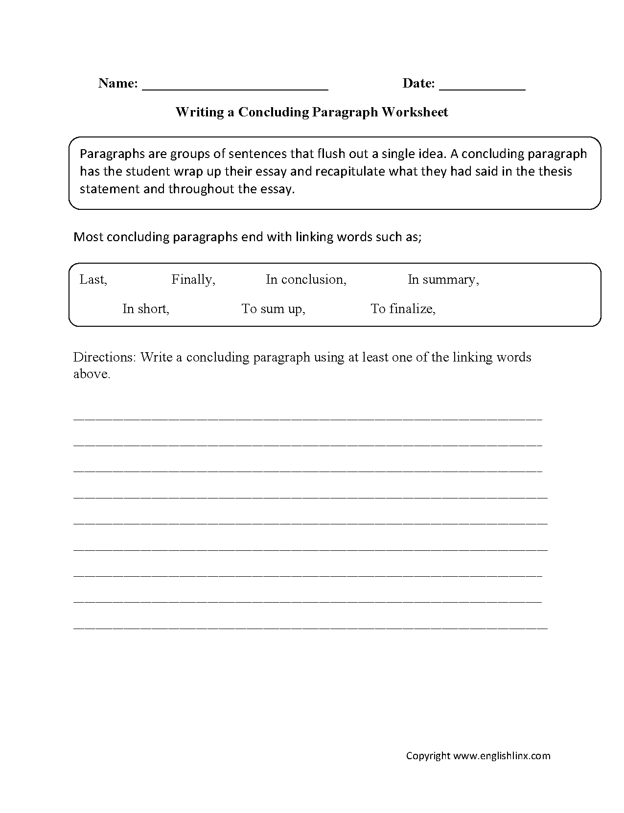 Writing Concluding Paragraph Worksheets