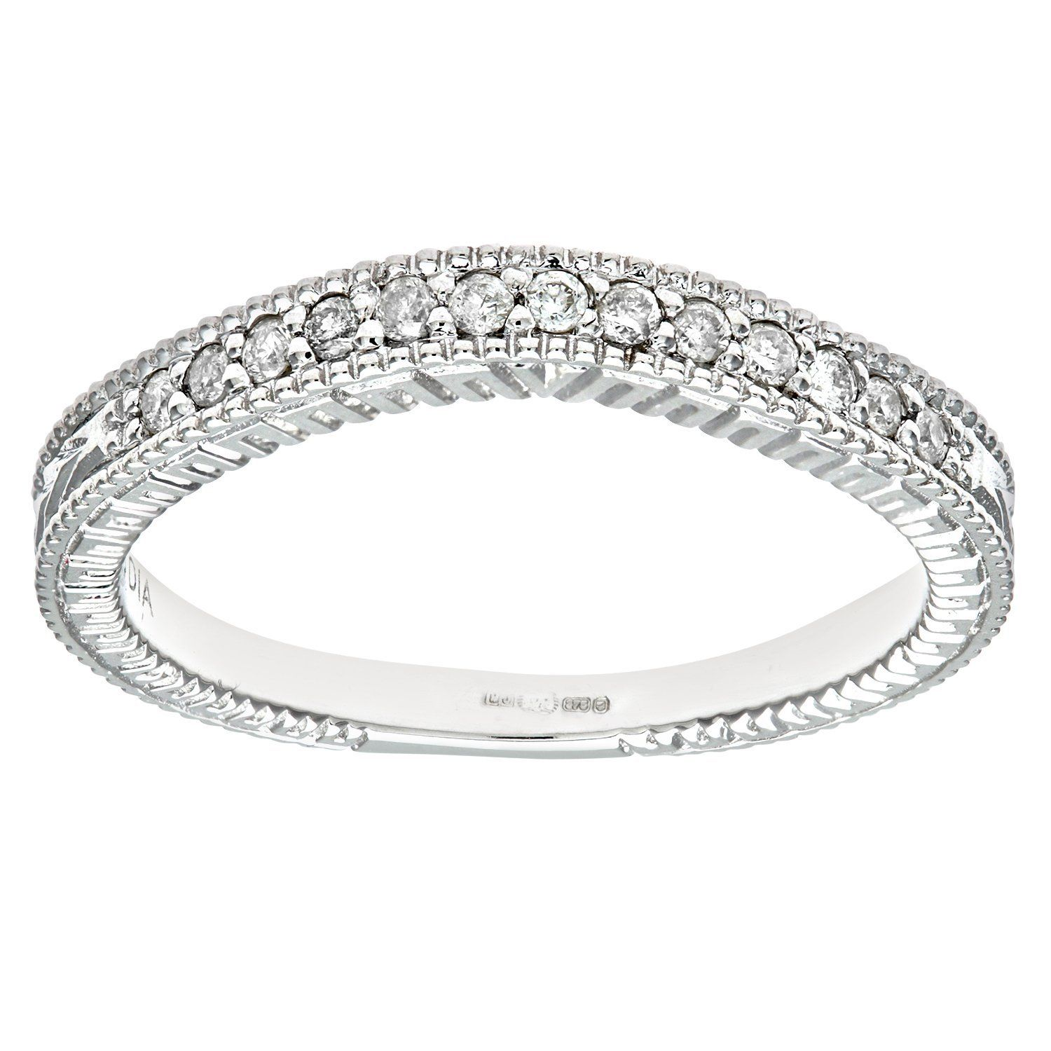 Naava Women's 9 ct White Gold Round Brilliant Cut 0.25 ct Diamond Fancy Eternity Ring 9xWF8tp