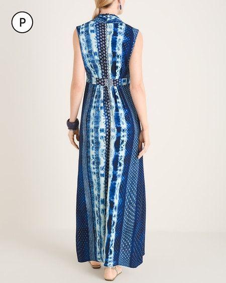 Chico's Women's Petite Geometric Tie-Dye Print Maxi Dress