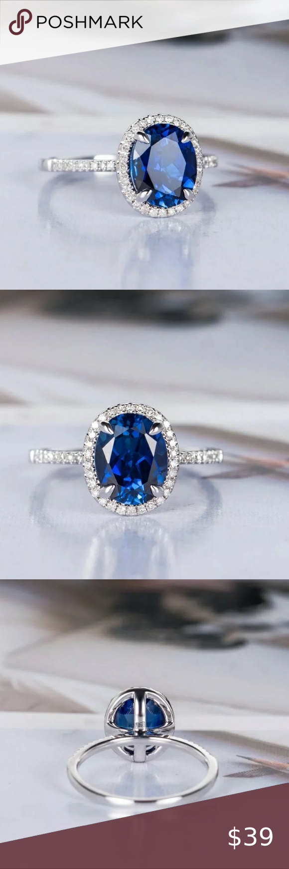 Blue And White Sapphire Wedding Ring In 2020 14k Gold Wedding Ring White Sapphire Ring Wedding Sapphire Wedding Rings