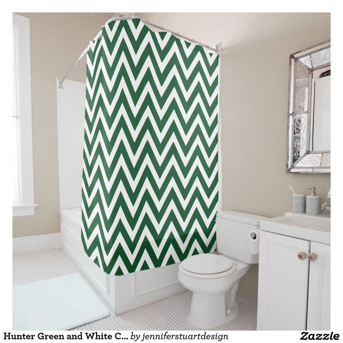 Hunter Green And White Chevron Shower Curtain Zazzle Com