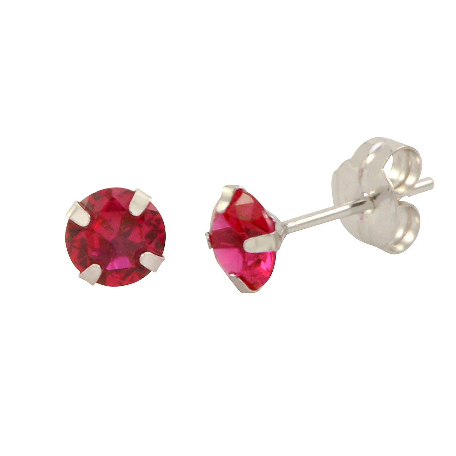14k White Gold Ruby Red Cubic Zirconia Stud Earrings Round