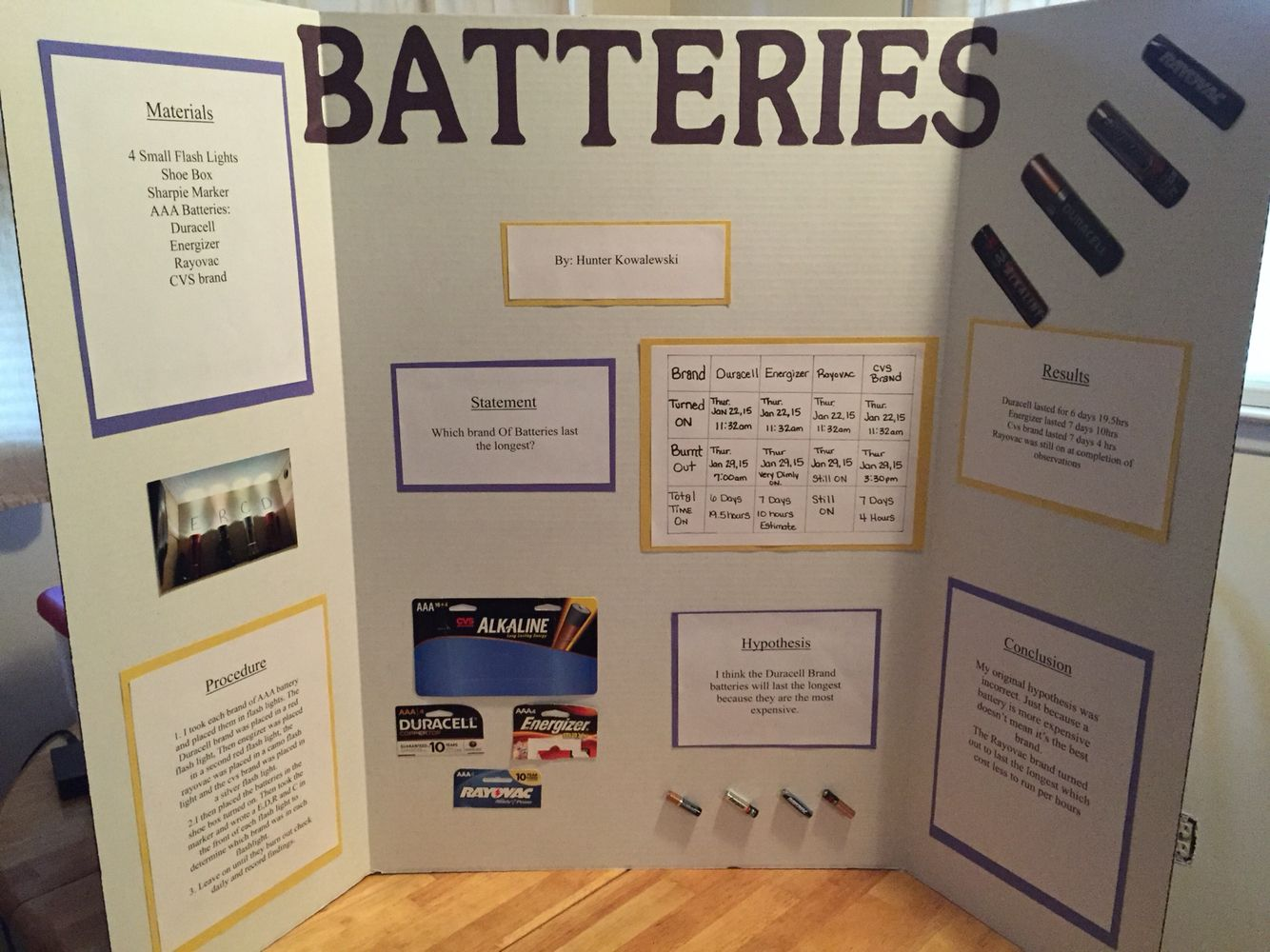 Batteries Science Fair Project Which Brand Last The Longest Science Fair Projects Boards Science Fair Projects Science Fair Board