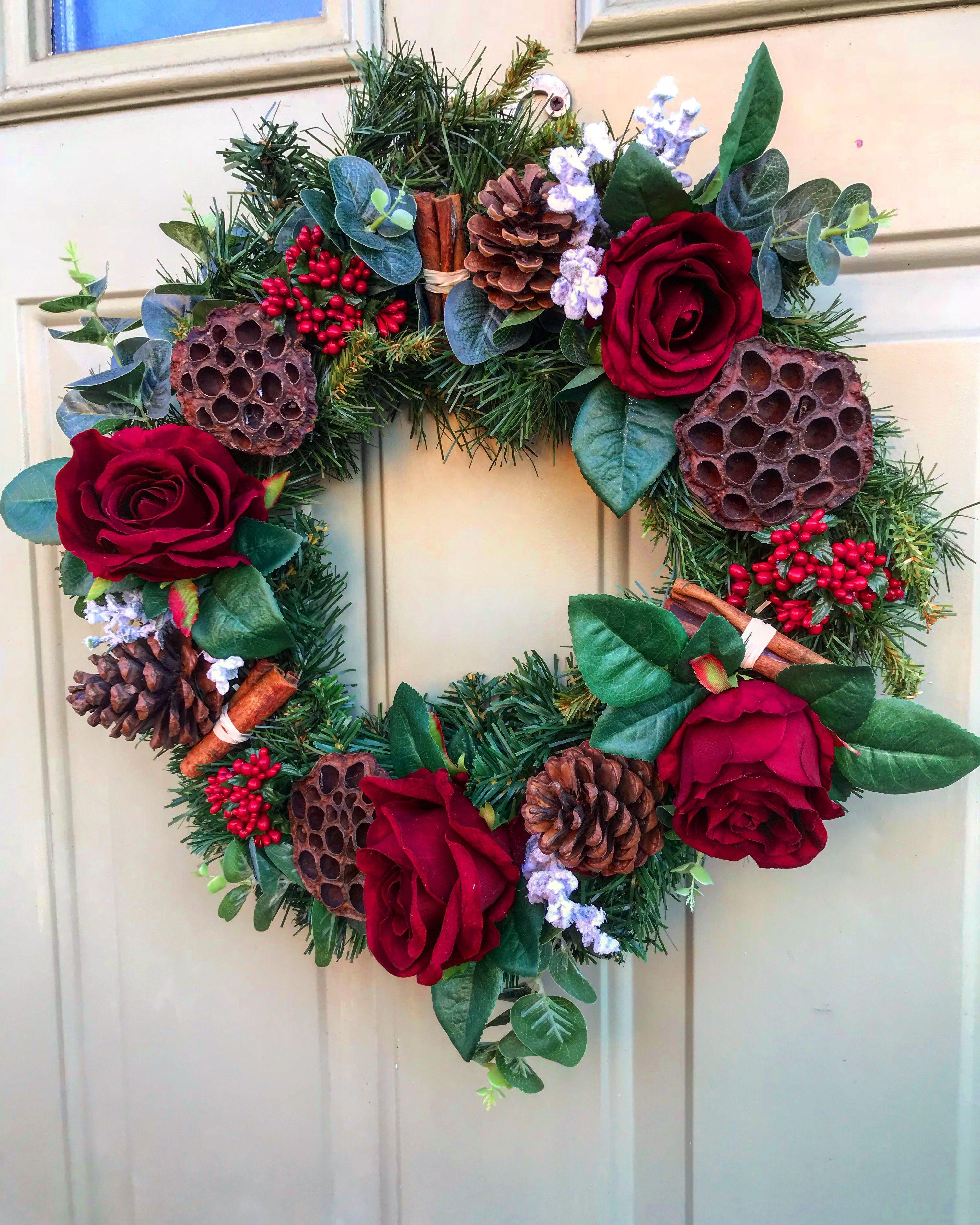Velvet faux rose Christmas wreath Wreathsbydesign