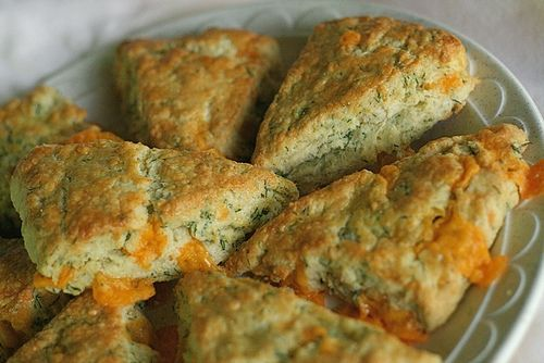Savory scones?  Yes!  These cheddar dil scones look amazingly delicious!