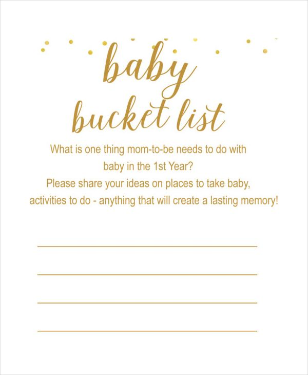 Baby Bucket List Template Showers List Template Templates Baby