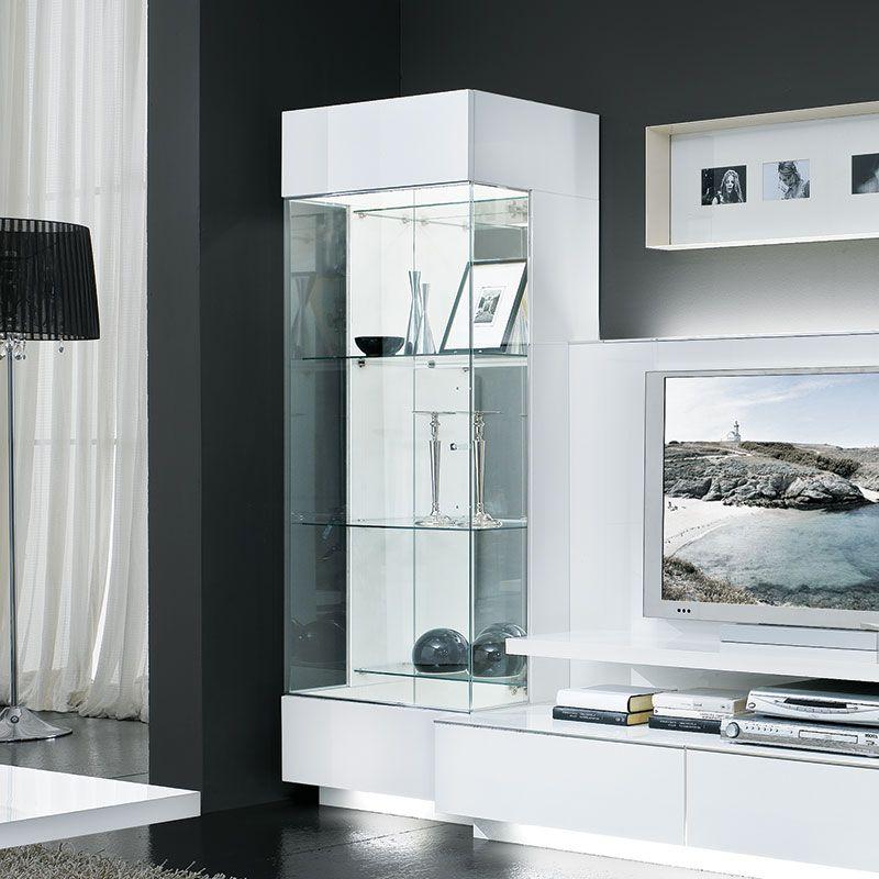 meuble vitrine avec éclairage couleur blanc laqué design
