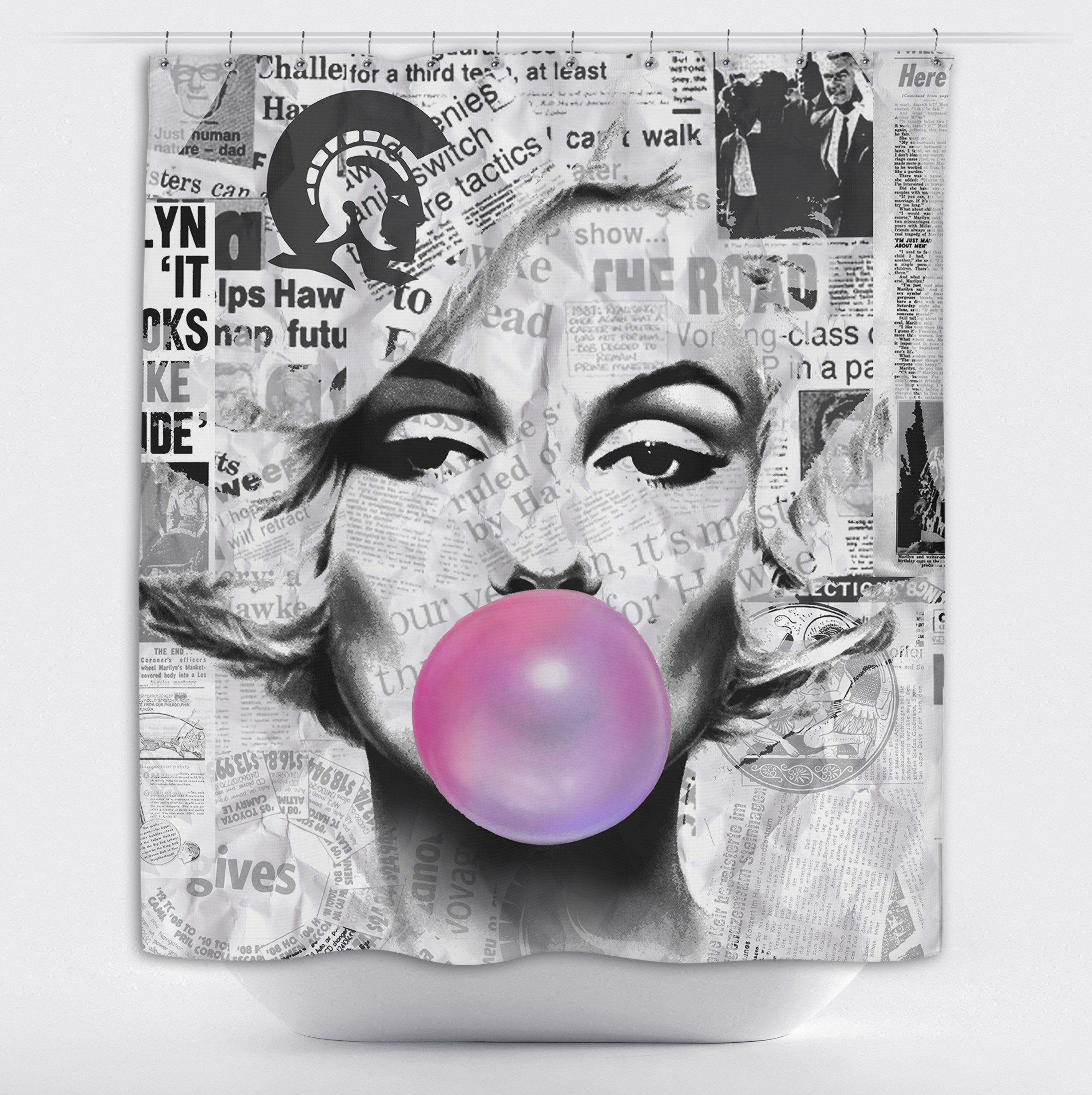 Marilyn Monroe Bubble Gum News Print Shower Curtain Marilyn