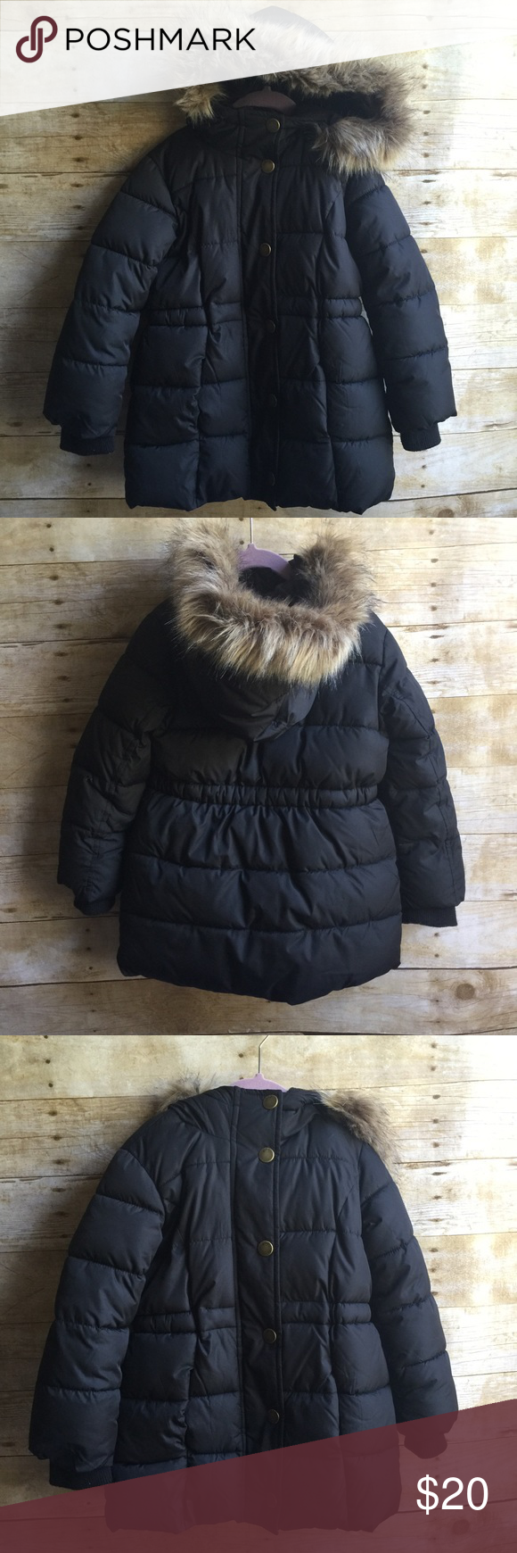 Girls Hooded Puffer Coat Worn maybe 3 times (we live in Florida). Incredibly warm and comfy!! Coat zips up and then buttons over zipper.  Fits 4-6t Gap Jackets & Coats Puffers