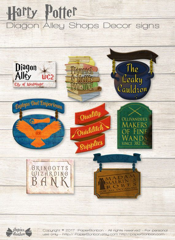 Harry Potter Signs Printable Pdf Files Diagon Alley