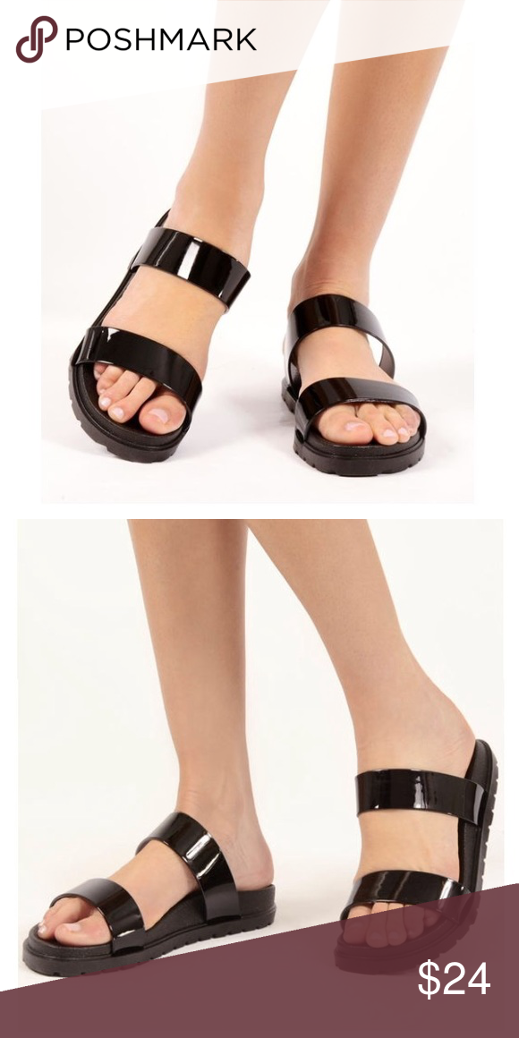 PATENT Double Strap Black Slide SANDALS BRAND NEW!! It's the perfect time to get ready for warmer weather and vacay season!! With trendy double straps finished in black patent leather, & super comfy cushioned insole, these sandals are a must-have for this season!! Shoes Sandals