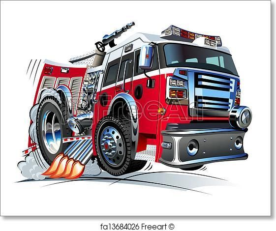 Free Art Print Of Cartoon Fire Truck With Images Fire Trucks