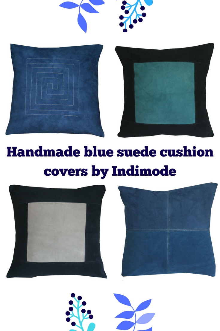 Unique handmade suede leather cushion covers in various shades of