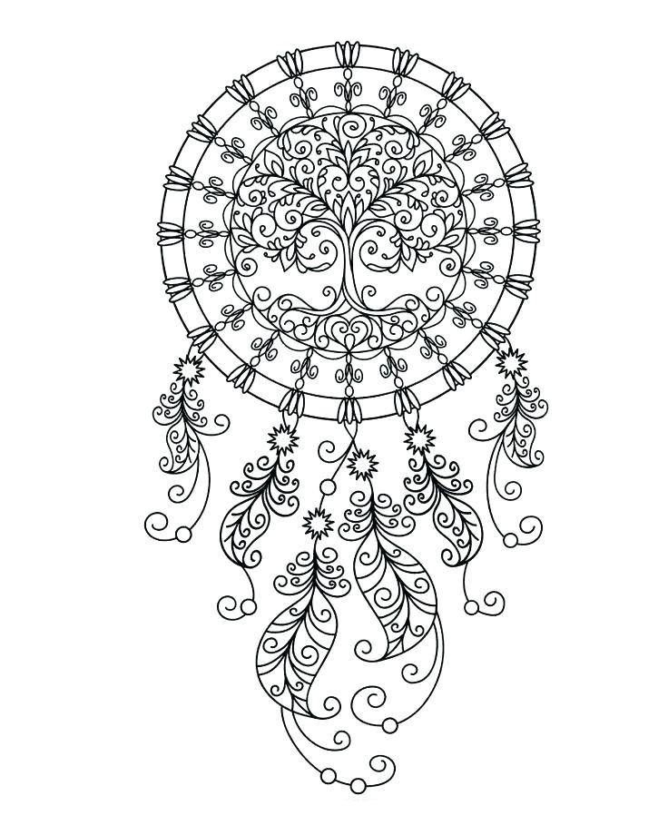 It is a picture of Nifty Printable Adult Coloring Pages Dream Catchers