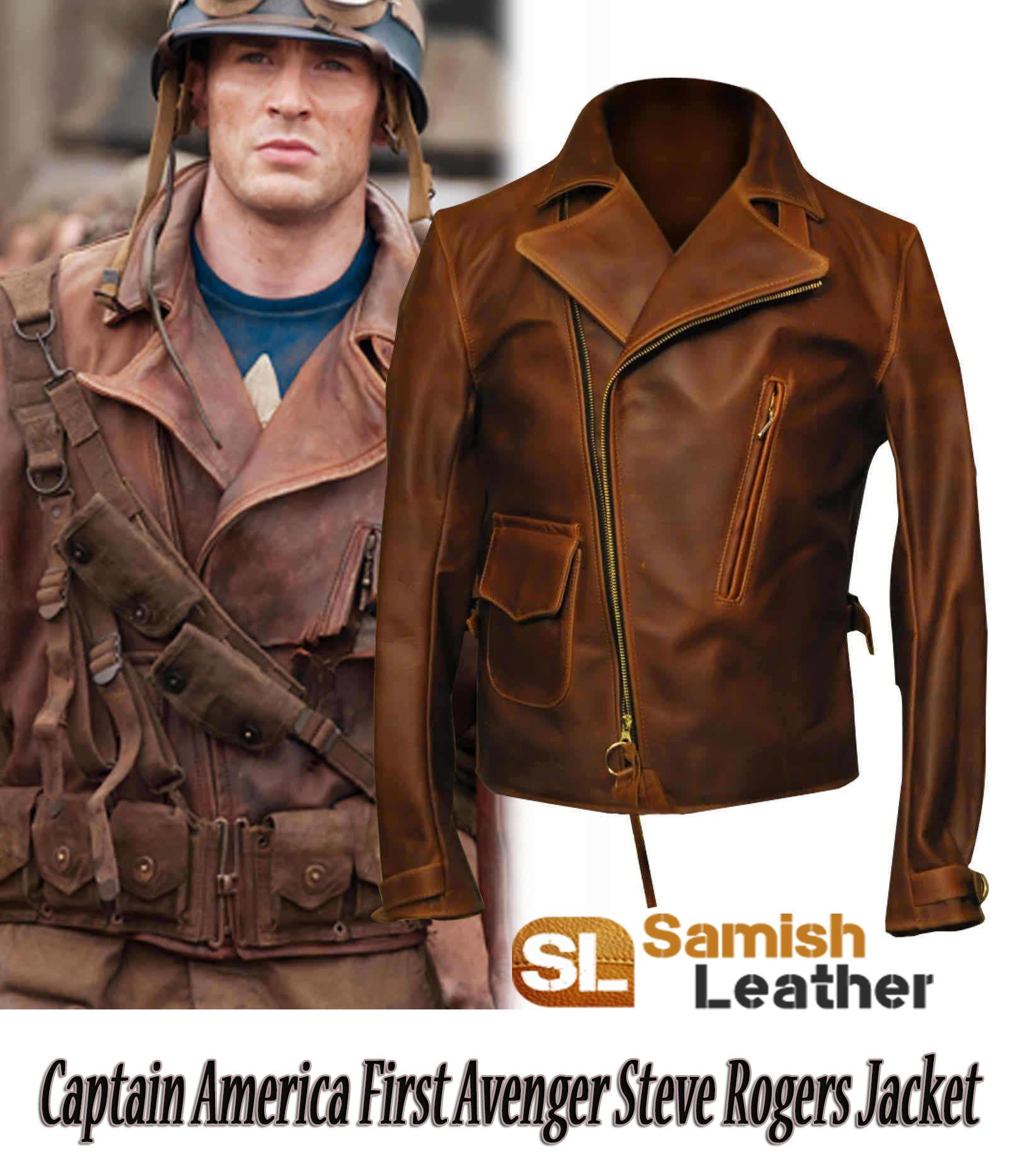 Avengers Steve Roger Captain America Stylish Costume Leather Jacket BIG SALE