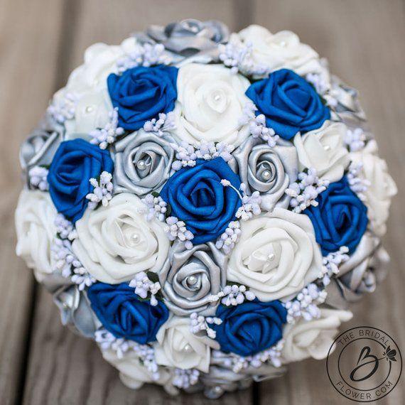 Royal Blue Wedding Bouquet Royal Blue And Silver Bouquet Horizon