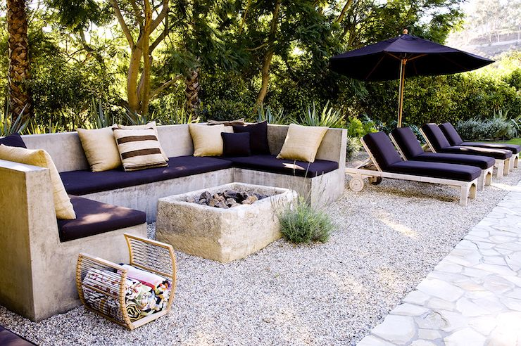 Lush Patio Features U Shaped Outdoor Concrete Sofa Lined