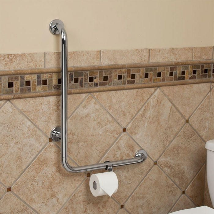 Pickens L-Shape Grab Bar with Toilet Paper Holder | Creative ...